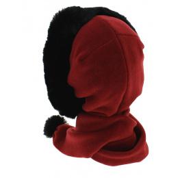 Shae Polar Fleece & Faux Fur Scarf / Hood - Red - Mtm
