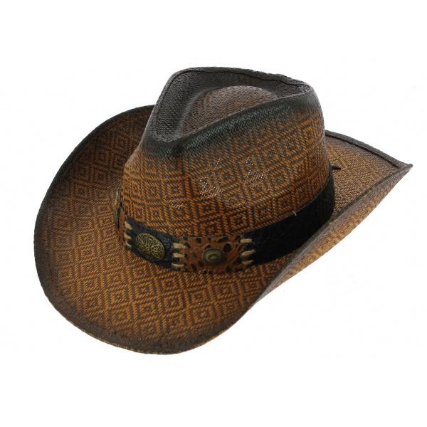 Chapeau Cowboy Thunderbird Paille Papier Marron - Traclet