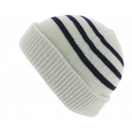 Duncan Stripes Navy Hat White - Traclet