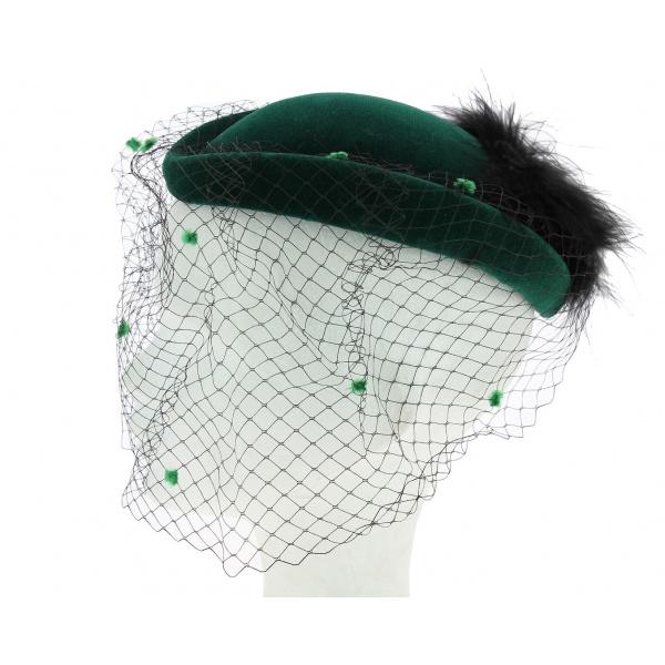 Chapeau velours/plume de cérémonie ou de cabaret vert