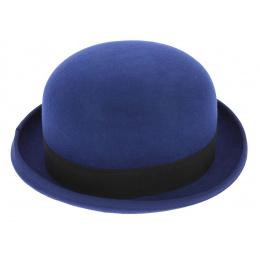 Chapeau Melon Steed Feutre Laine Bleu - Guerra