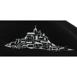 Béret Broderie Arc de Triomphe Laine Noir - Traclet