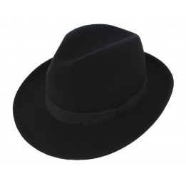 Fedora hat black wool felt