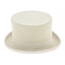 White Wool Felt Top Hat - Guerra