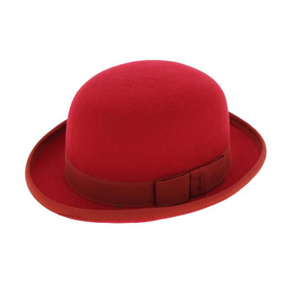Chapeau Melon Feutre laine Rouge -TRACLET
