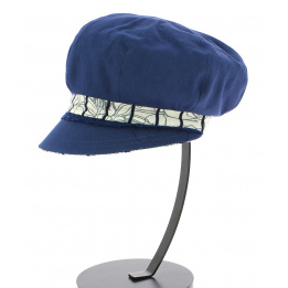Casquette gavroche reversible bleu/motif