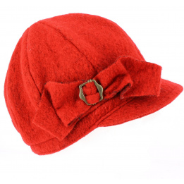 Casquette gavroche  Liliana Rouge Laine Bouillie -Traclet