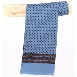 Foulard bleu Ciel motifs Soie - City Sport