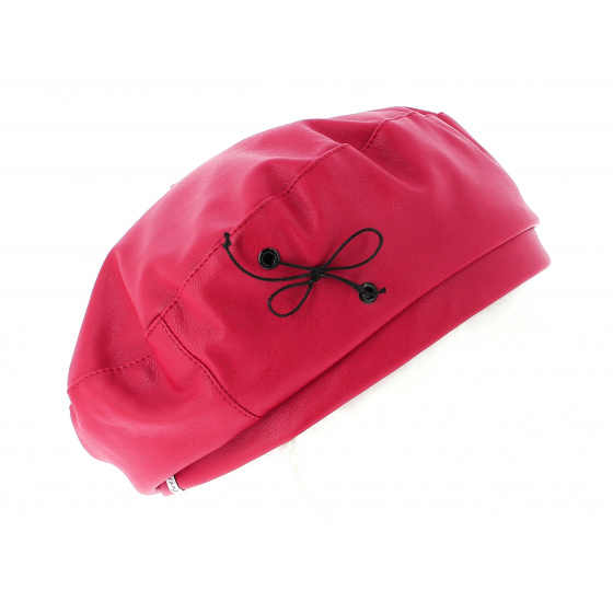 Beret Candide Imitation Cuir Rouge- Traclet