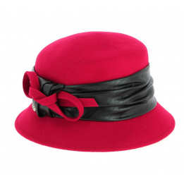 Chapeau Cloche Astrid en Feutre Laine Rouge- Traclet