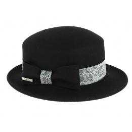 Chapeau Noir Emeline avec imprimé dentelle Blanc -Traclet