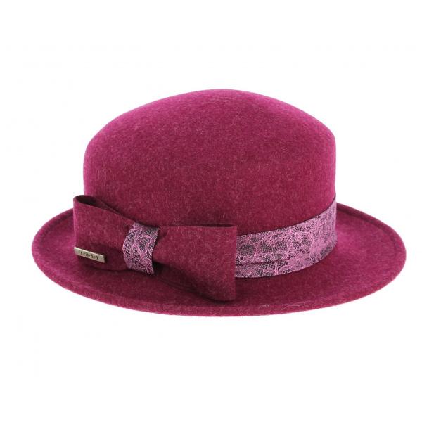 Chapeau Bordeaux Emeline avec imprimé dentelle Rose-Traclet