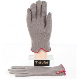 Gants Tactiles Séville Laine & Cachemire Taupe/Rouge- Traclet