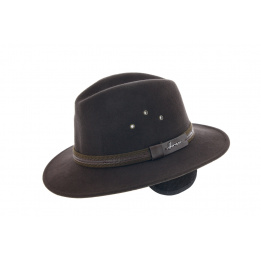 Chapeau Traveller Mac Eye Cache-Oreilles Feutre Laine Marron - Herman