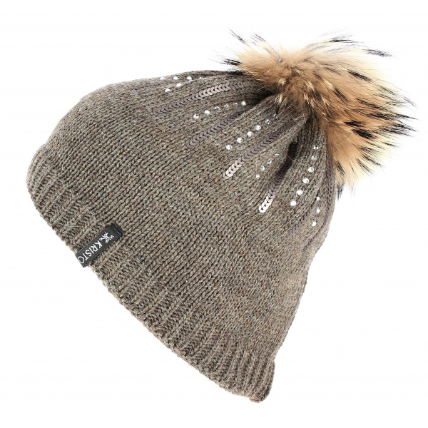 Bonnet Pompon Fourrure Betty Laine Marron - Kristo