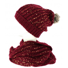 Ensemble bonnet snood pailleté bordeaux TRACLET