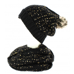 Bonnet pompon et snood noir pailleté or TRACLET