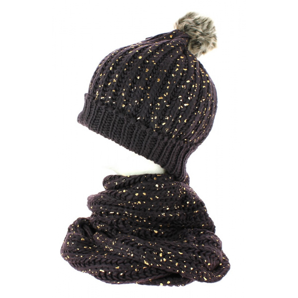 Ensemble Bonnet pompon et snood marron pailleté TRACLET