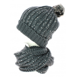 Ensemble Bonnet pompon et snood gris pailleté TRACLET