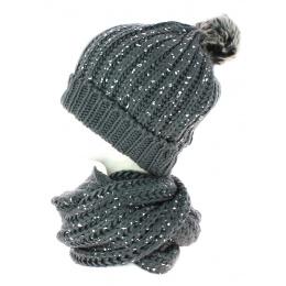 Bonnet pompon et snood gris pailleté TRACLET
