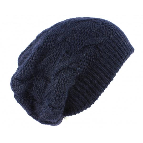 Bonnet Plat Abigail Angora Marine- Traclet