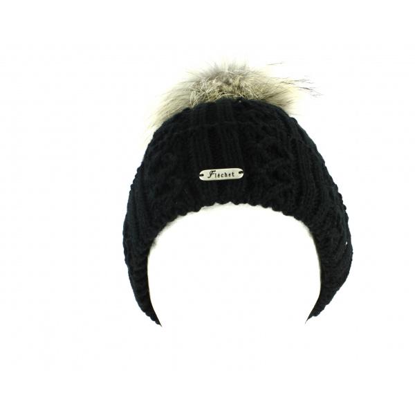 Bonnet à Pompon et Fourrure Noir-Fléchet