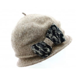 Chapeau Cloche Laine Noomi Taupe - Traclet