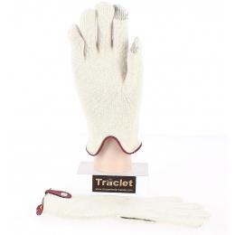 Gants Tactiles Séville Laine & Cachemire Crème/Bordeaux- Traclet