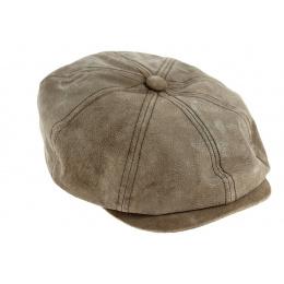Casquette hatteras Newsboy cuir olive - Aussie Apparel
