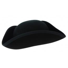 Small Black Wool Felt Tricorne - Traclet