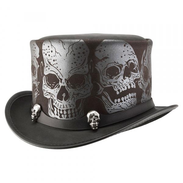 Chapeau Haut de Forme Silver Skull Cuir- Head'N Home