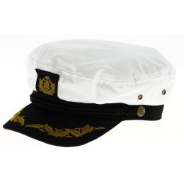 Capt'aine White Cotton Navy Cap - Traclet