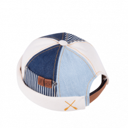 Miki Breton Patchwork Cream and Blue Cotton Patchwork - Waxed Concrete