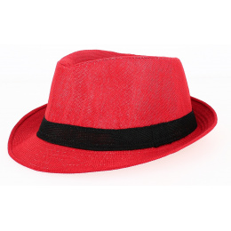 Chapeau Trilby California Lin Rouge - Traclet