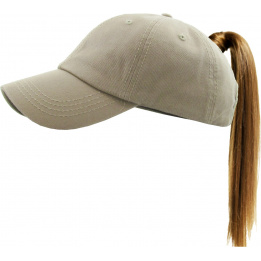 Classic Cap Ponytail Beige- Traclet