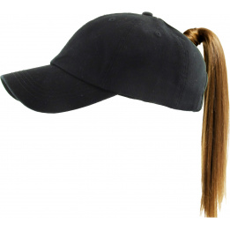 Casquette Baseball Femme Ponytail Noire- Traclet