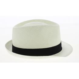 Chapeau Trilby Paille Papier Blanc Ruban Noir- Traclet