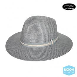 Chapeau Fedora Libby Fibres Naturelles Gris- Rigon Headwear