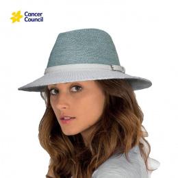 Chapeau Fedora Tara Mannish Fibres Naturelles Blanc/Bleu- Rigon Headwear