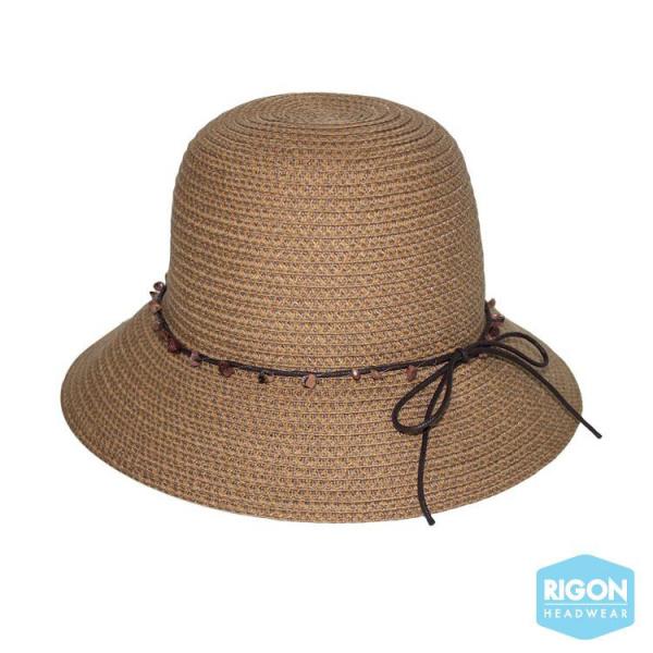 Chapeau Cloche Peta Fibres Naturelles Caramel - Rigon Headwear