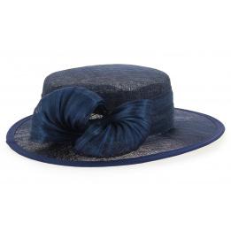Chapeau de Cérémonie Paille Bleu-Marine - Traclet