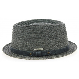 Chapeau PorkPie Indian Wells paille Gris- Traclet