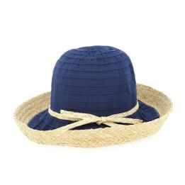 Chapeau Cloche Witney Raffia Marine- Traclet