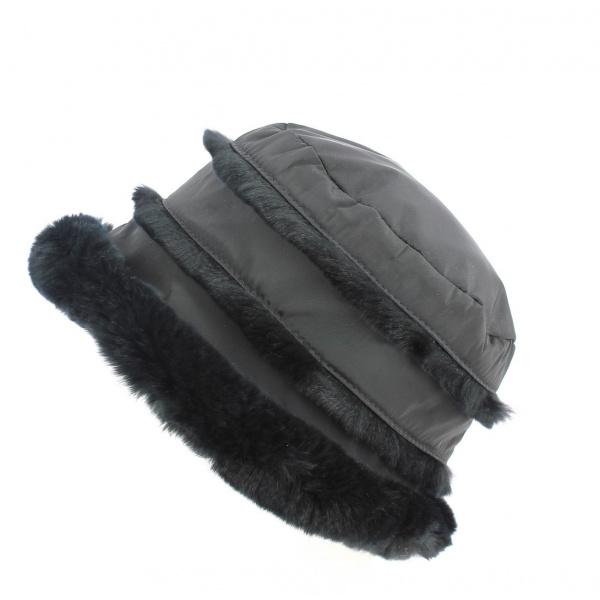 Toque Rex Microfibres & Fourrure Lapin Noire- Traclet