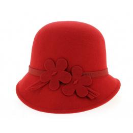 Chapeau Cloche Emma Feutre Laine Rouge- Traclet