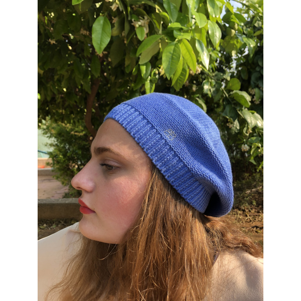 Béret Irma Coton Fleur Bleu- BeBeret
