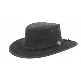 Chapeau Australien Foldaway Suede Noir - Barmah