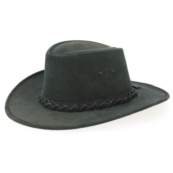 Chapeau Traveller Swagman Cuir Noir - Bc Hats