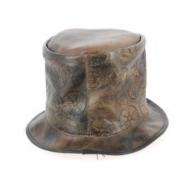 Chapeau haut de forme fantaisie cuir et velours marron