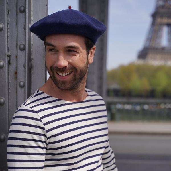 Beret Francais - béret bleu denim